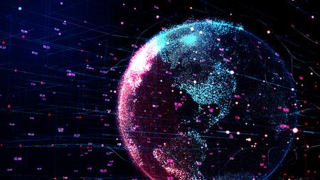 Ilustración 3D del planeta rojo Tierra en ciber-red futurista global, líneas de conexión en todo el mundo. La cuadrícula artificial neuronal muestra el flujo de datos y el intercambio de criptomonedas en el concepto de negocio.