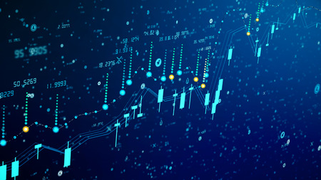 Futuristic digital business cryptocurrency candle chart rise. 3D illustration of financial diagram grows on bullish market, showing growth and increasing profit. Econimics concept in ultra HD 4K