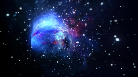 Interstellar travel in hyperspace wormhole portal with stars. Lightspeed space journey through time continuum. Warp in science fiction black hole vortex futuristic tunnel 3D illustration