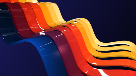 Abstract background with waving colorful stripes. Geometric 3D illustration with soft shadows and reflection.