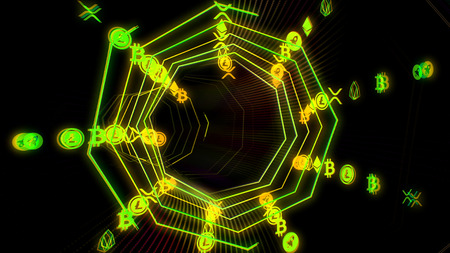 Futuristic cryptocurrency digital data flow 3D illustration. Technology cyberspace tunnel with blockchain information stream. Internet, crypto and computer network concept in 4K Foto de archivo