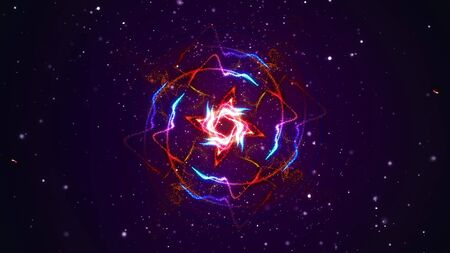 Abstract shining particle flower circle patterns 3D illustration. Vibrant fireworks light symmetric glowing patterns flow in waves. Colorful motion graphics overlay graphic VFX element Imagens