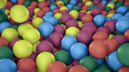 Pile of gumballs closeup with colorful rolling and falling balls. Multicolored spheres in pool for children fun abstract background. Bright 3D illustration with depth of field. Camera zooms out Imagens