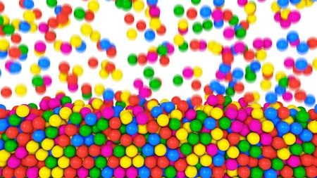 Pile of gumballs fill screen with colorful rolling and falling balls. Multicolored spheres in pool for children fun abstract transition. Bright 3D animation for composite overlay with alpha channel Imagens