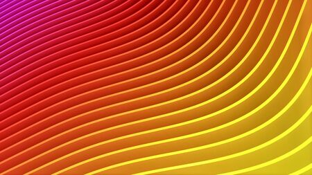 Rows of colorful red and yellow stripes waving and swaying. Geometric abstract background with bright rainbow strips rippling 3D illustration. Vibrant motion graphics backdrop in 4k Imagens