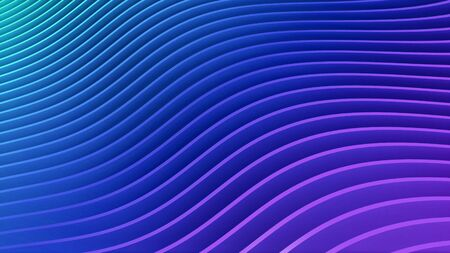 Rows of colorful blue and pink stripes waving and swaying. Geometric abstract background with bright strips rippling 3D illustration. Vibrant motion graphics backdrop in 4k Imagens