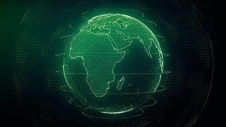 Futuristic green digital Earth Europe skyline. Global data network around planet in modern age. Worldwide internet and blockchain. Technology, connectivity, science and business concept 3D render Imagens