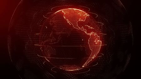 Futuristic red digital Earth America skyline. Global data network around planet in modern age. Worldwide internet and blockchain. Technology, connectivity, science and business concept 3D render
