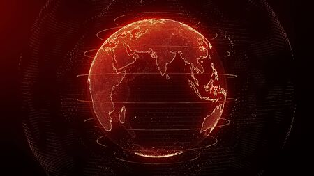 Futuristic red digital Earth Asia skyline. Global data network around planet in modern age. Worldwide internet and blockchain. Technology, connectivity, science and business concept 3D render Stock fotó - 133808491