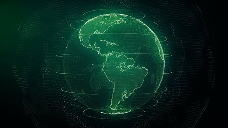 Futuristic green digital Earth America skyline. Global data network around planet in modern age. Worldwide internet and blockchain. Technology, connectivity, science and business concept 3D render