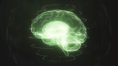 Futuristic green digital brain in particle cyberspace. Neurons firing in MRI scan of artificial intelligence neural network. Medical research of brain activity. Deep learning, AI and modern technology
