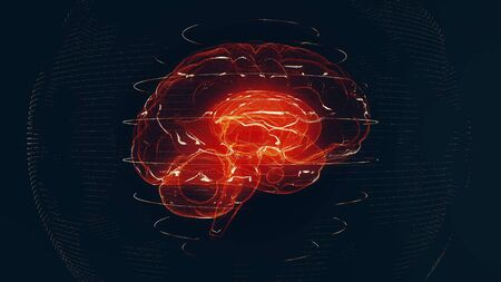 Futuristic red digital brain in particle cyberspace. Neurons firing in MRI scan of artificial intelligence neural network. Medical research of brain activity. Deep learning, AI and modern technology