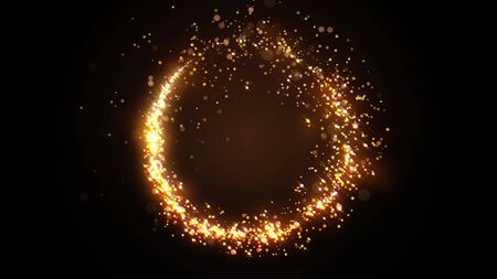 Golden glitter circle with sparkling light. Shining Christmas gold particles and sparkles ring on black background. Luxury magic festive effect with bokeh and glow. Dust trail 3d render in Ultra HD 4K Stock fotó