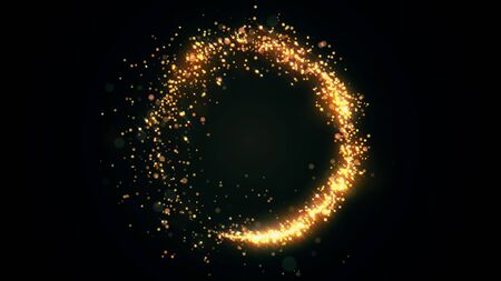 Golden glitter circle with sparkling light. Shining Christmas gold particles and sparkles ring on black background. Luxury magic festive effect with bokeh and glow. Dust trail 3d render in Ultra HD 4K Reklamní fotografie