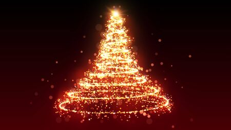 Golden glitter Christmas tree with sparkling light. Shining gold particles and sparkles spiral intro template on black background. Luxury magic festive effect with bokeh and glow. Dust trail 3D render