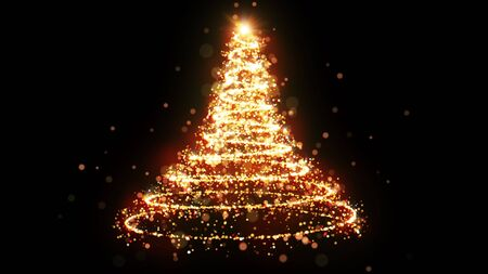 Golden glitter Christmas tree with sparkling light. Shining gold particles and sparkles spiral intro template on black background. Luxury magic festive effect with bokeh and glow. Dust trail 3D render Stock fotó - 135107544