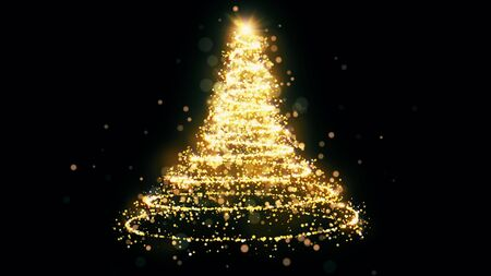 Golden glitter Christmas tree with sparkling light. Shining gold particles and sparkles spiral intro template on black background. Luxury magic festive effect with bokeh and glow. Dust trail 3D render Stock fotó - 135114674