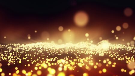 Abstract festive motion background with shining gold particles. Christmas 3D illustration of vibrant sparks wave movement with golden lights and bokeh. Bright holiday concept backdrop