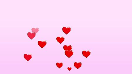 Floating 2D hearts on pink background. Valentines day bright festive 3D illustration with cute cartoon heart shapes. Love, passion and celebration concept background