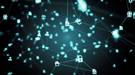 Abstract futuristic technology icons nodes background. Social network, computer and internet nodes connected in grid in cyberspace with camera fly through. 4k 3D illustration