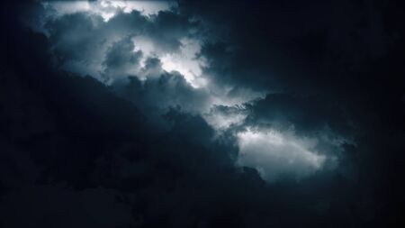 Epic thunderstorm clouds at night with lightning. Realistic black storm sky timelapse with powerful flashes and lights. Force of nature and dark environment 3D illustration. Severe weather background Stock fotó - 138021787