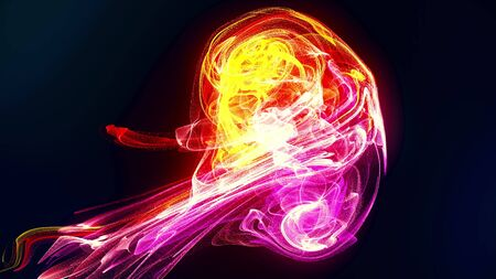 Futuristic abstract pink and orange particle liquid explosion. Slow motion fluid ink paint energy burst 3D illustration. Bright colorful motion background for technology and science concept. Stock fotó