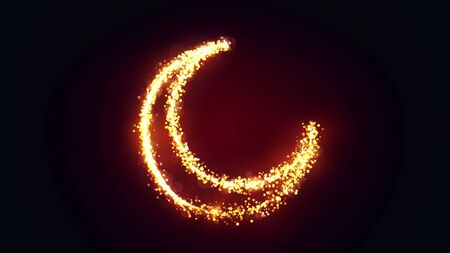 Shining gold particles creating a crescent moon shape. Bright festive ramadan 3D illustration with hilal symbol from glitter and sparkles on black background. 4K Holiday effect with bokeh and glow.