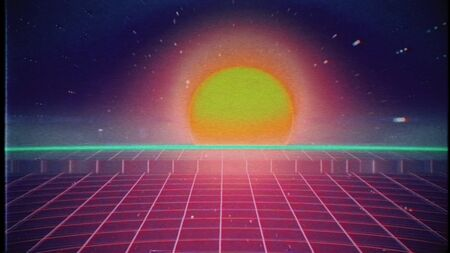 Retro futuristic 80s VHS tape video game intro landscape. Flight over the neon red laser beam glowing grid with sunrise and stars with glitches. Arcade vintage stylized sci-fi VJ motion 3D render