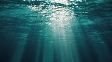 Underwater view with ocean waves flowing in the clear blue water. Beautiful aquatic view with sunbeams shining and creating god rays in the deep sea. 3D illustration with swells and tidal waves Stock fotó