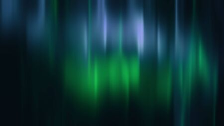 Realistic Aurora Borealis or Northern lights. Bright and beautiful green and blue polar light curtains on black background. 3D illustration overlay with alpha channel matte for compositing
