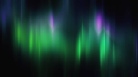 Realistic Aurora Borealis or Northern lights. Bright and beautiful green and purple polar light curtains on black background. 3D illustration overlay with alpha channel matte for compositing