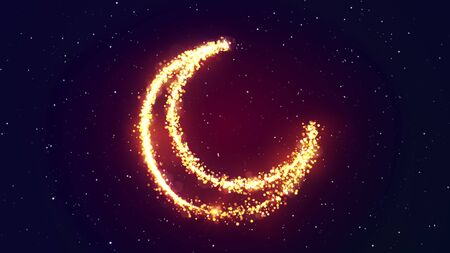 Shining gold particles creating a crescent moon shape with stras sky. Bright festive ramadan 3D illustration with hilal symbol from glitter and sparkles. Holiday effect with bokeh and glow.