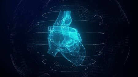 Anatomically correct blue digital human heart. Futuristic particle cardiac computer tomography scan 3D render. MRI future, disease treatment, healthcare and medical concept Reklamní fotografie