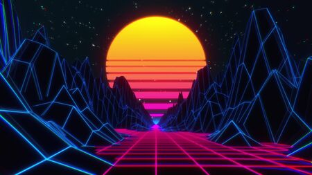 80s retro futuristic sci-fi background. Retrowave VJ videogame landscape with neon lights and low poly terrain. Stylized vintage cyberpunk 3D illustration with mountains, sun and glowing stars.