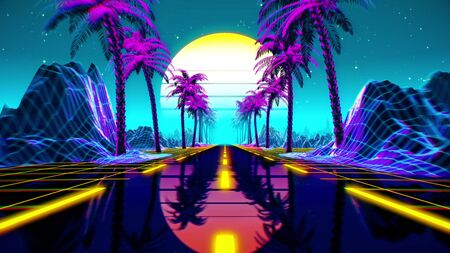 80s retro futuristic sci-fi background. Retrowave VJ videogame landscape with neon lights and low poly terrain grid. Stylized vintage cyberpunk vaporwave 3D render with mountains, sun and stars. Reklamní fotografie