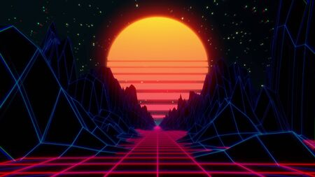 80s retro futuristic sci-fi background. Retrowave VJ videogame landscape with neon lights and low poly terrain. Stylized vintage cyberpunk 3D illustration with mountains, sun and glowing stars. 4K