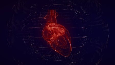Anatomically correct red digital human heart. Futuristic particle cardiac computer tomography scan 3D render. MRI future, disease treatment, healthcare and medical concept in 4k