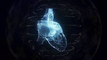 解剖学的に正しい青いデジタル人間の心臓