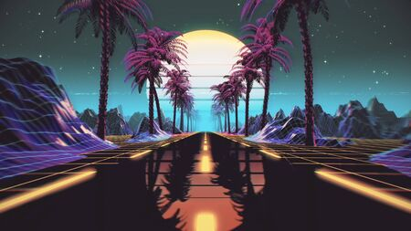 Retrowave VJ video game landscape with neon lights and low poly terrain grid Reklamní fotografie