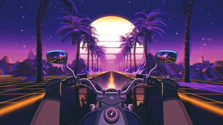 80s retro futuristic sci-fi background with motorcycle pov. Riding in retrowave VJ videogame landscape, neon lights and low poly grid. Stylized biker vintage vaporwave 3D animation background.