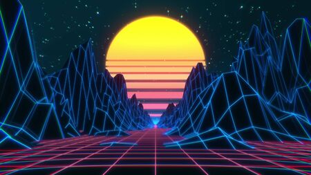 80s retro futuristic sci-fi. Retrowave VJ video game landscape with neon lights and low poly terrain.