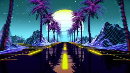 80s retro futuristic sci-fi background. Retrowave VJ videogame landscape with neon lights and low poly terrain grid. Stylized vintage cyberpunk vaporwave 3D render with mountains, sun and stars. 4K Reklamní fotografie