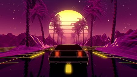 80s retro futuristic sci-fi 3D illustration with vintage car. Riding in retrowave VJ videogame landscape, neon lights and low poly grid. Stylized cyberpunk vaporwave background. 4K Reklamní fotografie
