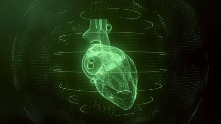 Anatomically correct green digital human heart. Futuristic particle cardiac computer tomography scan 3D render. MRI future, disease treatment, healthcare and medical concept in 4k