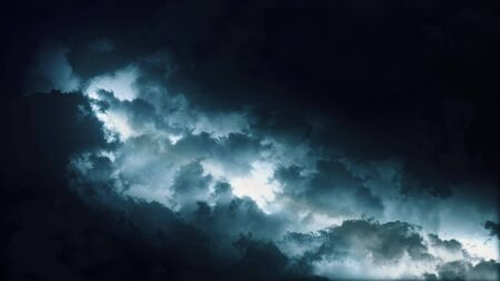 Epic thunderstorm clouds at night with lightning. Realistic black storm sky timelapse with powerful flashes and lights. Force of nature and dark environment 3D illustration. Severe weather background
