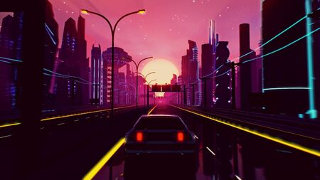 Retro-futuristic 80s style drive in neon city. Cyberpunk sunset landscape with a moving car on a highway road. VJ synthwave looping 3D illustration for music video. 4K stylized vintage