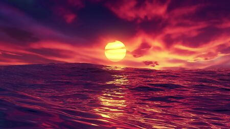 Red beautiful sunset over ocean. The glowing sun shines on dusk with water swells and light reflections. Red sky and amazing sea with waves. Summer sunrise seascape. 4K 3D illustration