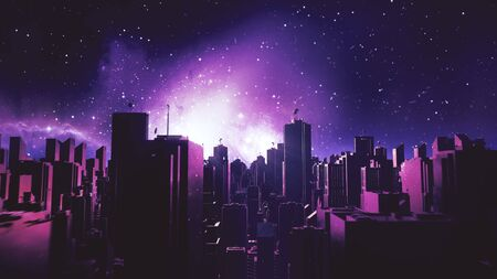 Retro futuristic city flythrough background. 80s sci-fi synthwave landscape in space with stars. Vaporwave stylized VJ 3D illustration for EDM music video, videogame intro. 4K motion design retrowave