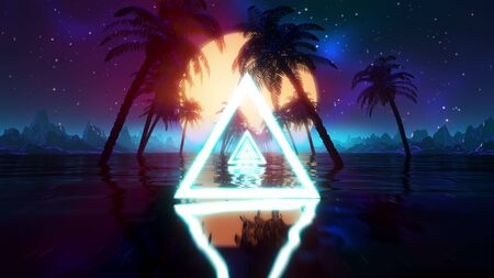 Retro futuristic synthwave landscape. Vintage sci-fi VJ 80s stylized vaporwave 3D illustration with sunset, palms, water, low poly mountains grid. 4K VHS retrowave intro with sun and neon lights Reklamní fotografie