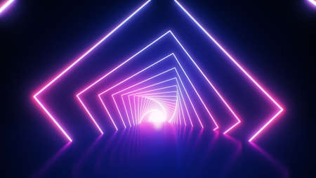 Abstract neon geometric background. Retro futuristic ultraviolet backdrop with bright glowing lines in a tunnel with pink and blue. VJ 3D Illustration for EDM music video, club, concert